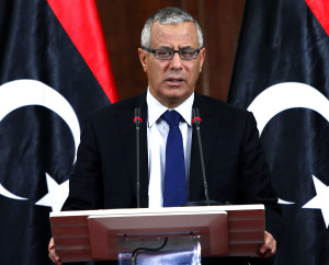 Libyan Prime Minister Ali Zeidan speaks during a news conference at the headquarters of the Prime Minister's Office in Tripoli