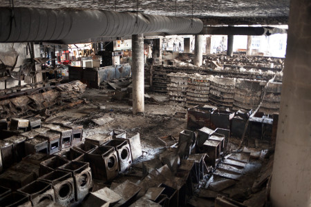 Burnt kitchen appliances and foodstuffs in the aftermath of 2013's Westgate Shopping Mall attack