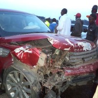 Witnesses say Rev James Ng'ang'a sped off in a second vehicle after emerging from behind the wheel of this wrecked Range Rover Sport