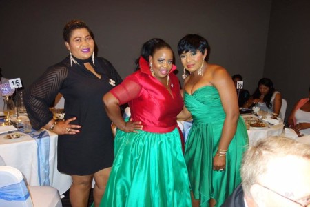 Theodora Ibekwe – Oyebade, President of Actors Guild UK Nollywood with actress Victoria Iyama and another guest.